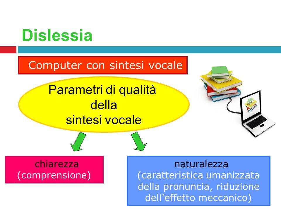 Dislessia Computer con sintesi vocale chiarezza (comprensione) naturalezza (caratteristica umanizzata della pronuncia, riduzione delleffetto meccanico
