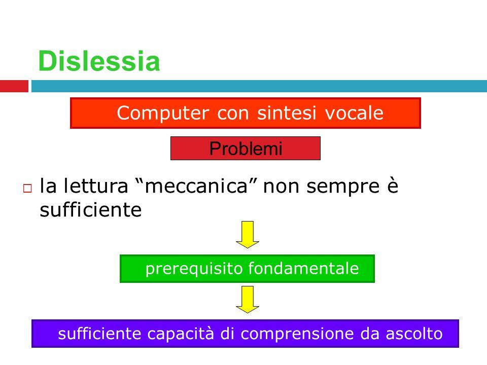 Dislessia la lettura meccanica non sempre è sufficiente Computer con sintesi vocale Problemi prerequisito fondamentale sufficiente capacità di compren