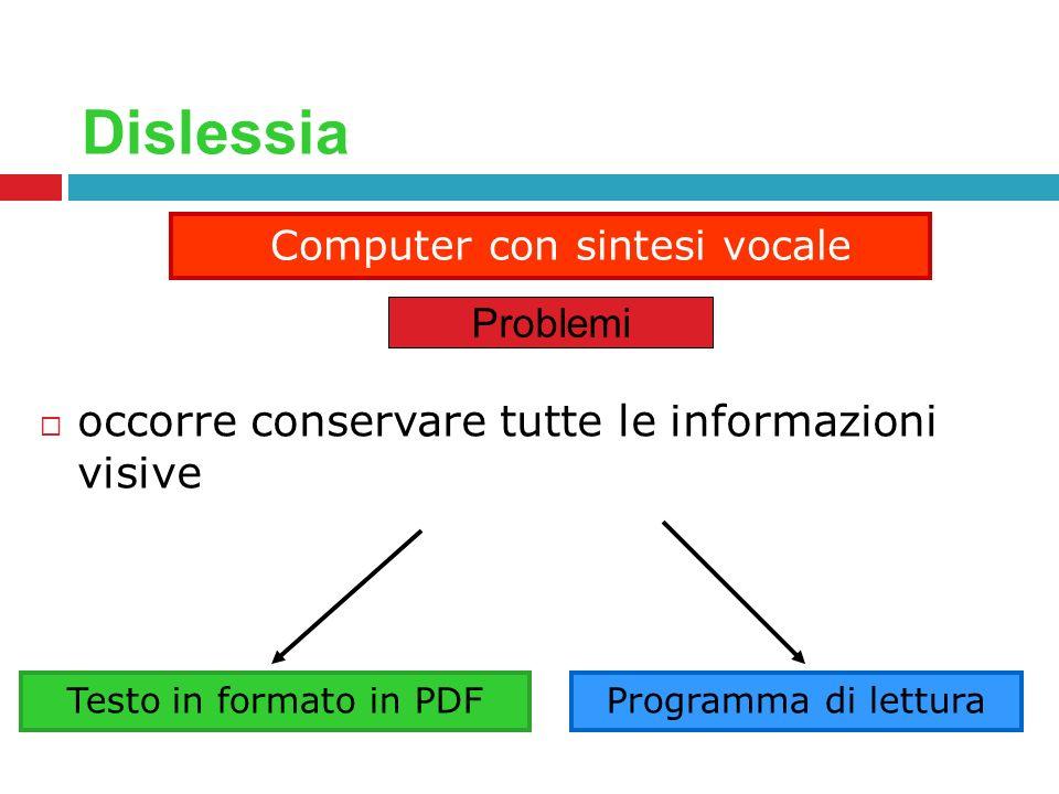 Dislessia occorre conservare tutte le informazioni visive Computer con sintesi vocale Problemi Testo in formato in PDFProgramma di lettura