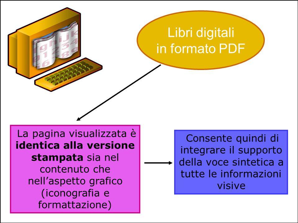 Libri digitali in formato PDF La pagina visualizzata è identica alla versione stampata sia nel contenuto che nellaspetto grafico (iconografia e format