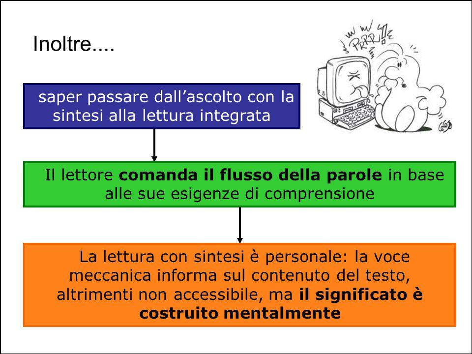 Inoltre.... saper passare dallascolto con la sintesi alla lettura integrata Il lettore comanda il flusso della parole in base alle sue esigenze di com