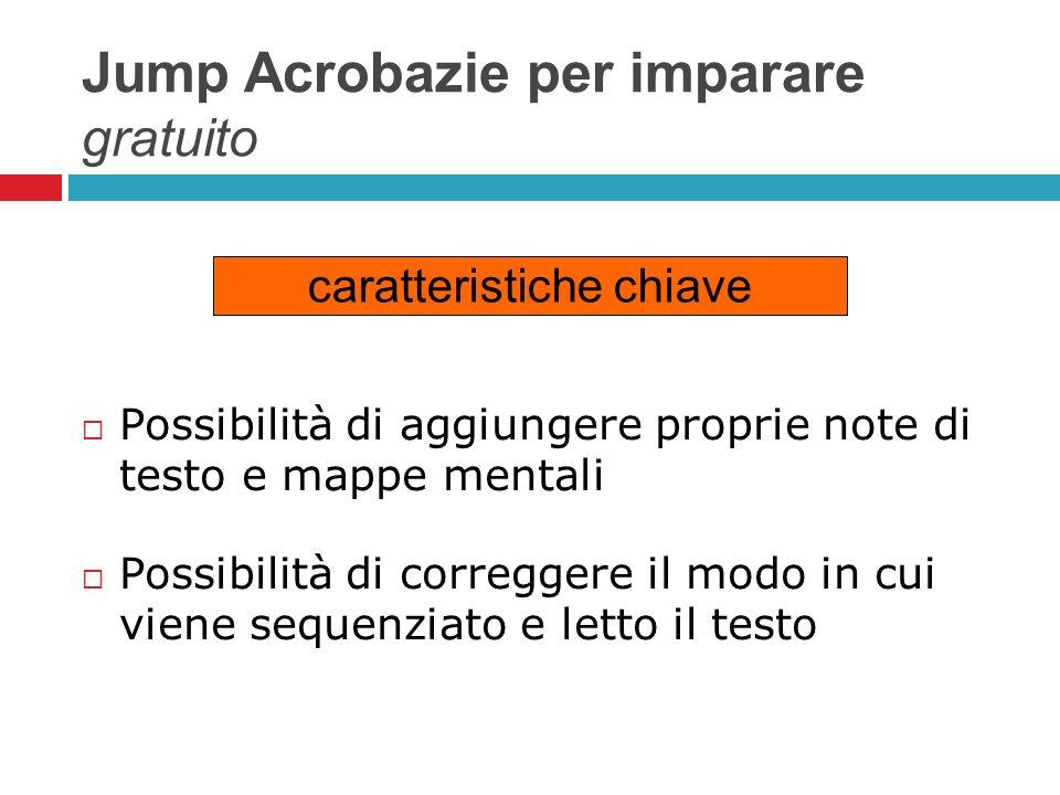 Jump Acrobazie per imparare gratuito Possibilità di aggiungere proprie note di testo e mappe mentali Possibilità di correggere il modo in cui viene se