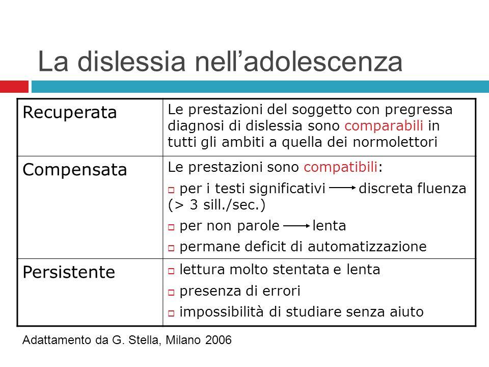 La dislessia nelladolescenza Recuperata Le prestazioni del soggetto con pregressa diagnosi di dislessia sono comparabili in tutti gli ambiti a quella