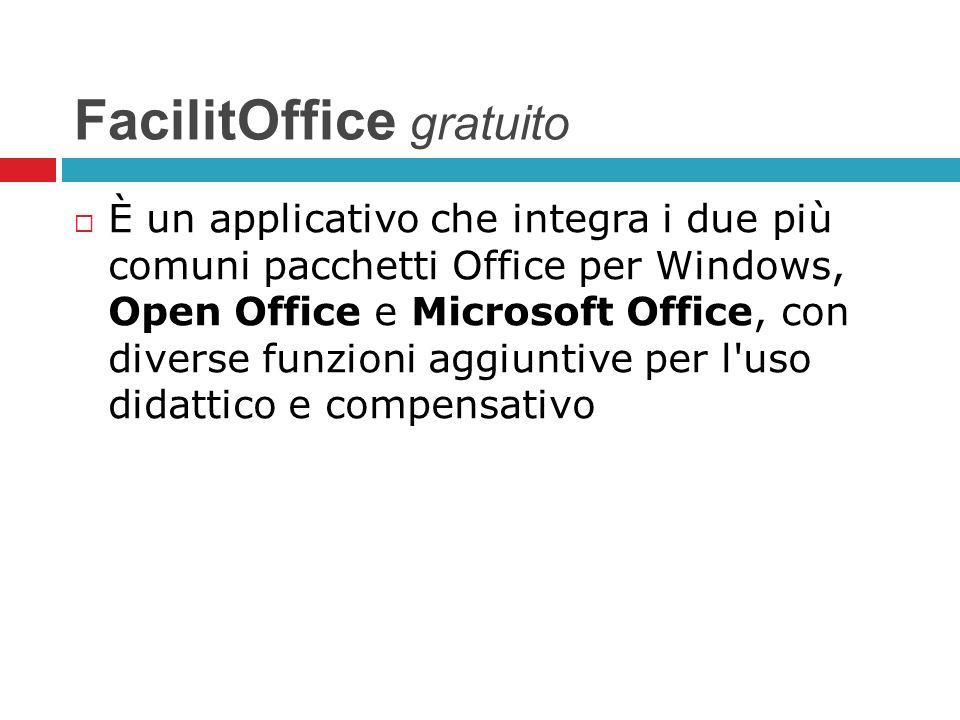 FacilitOffice gratuito È un applicativo che integra i due più comuni pacchetti Office per Windows, Open Office e Microsoft Office, con diverse funzion