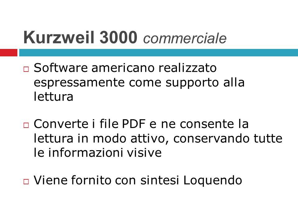 Kurzweil 3000 commerciale Software americano realizzato espressamente come supporto alla lettura Converte i file PDF e ne consente la lettura in modo