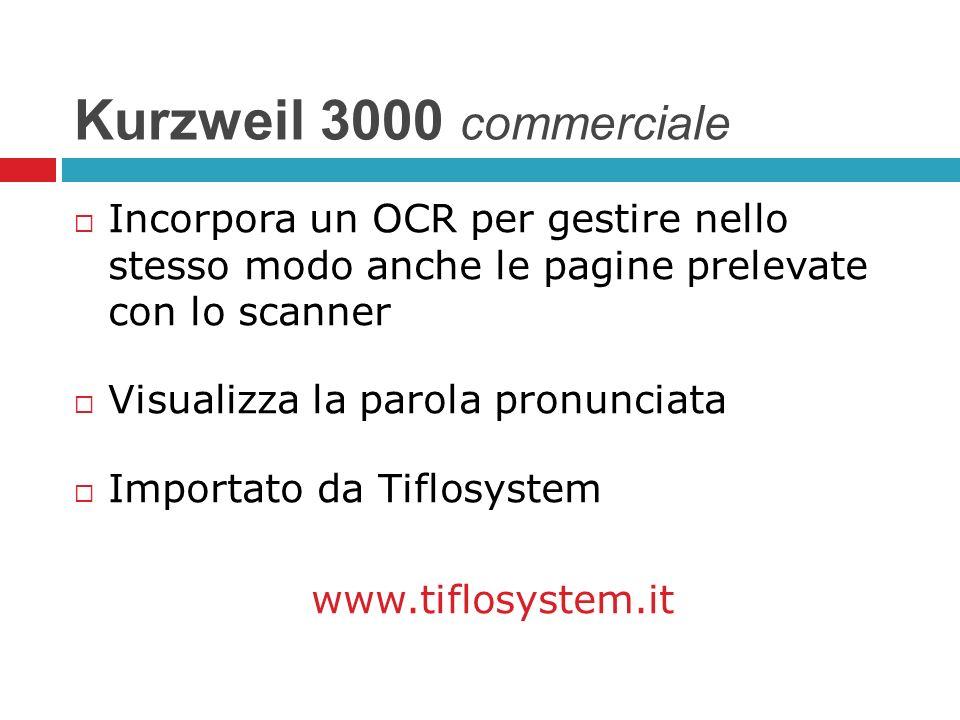 Kurzweil 3000 commerciale Incorpora un OCR per gestire nello stesso modo anche le pagine prelevate con lo scanner Visualizza la parola pronunciata Imp