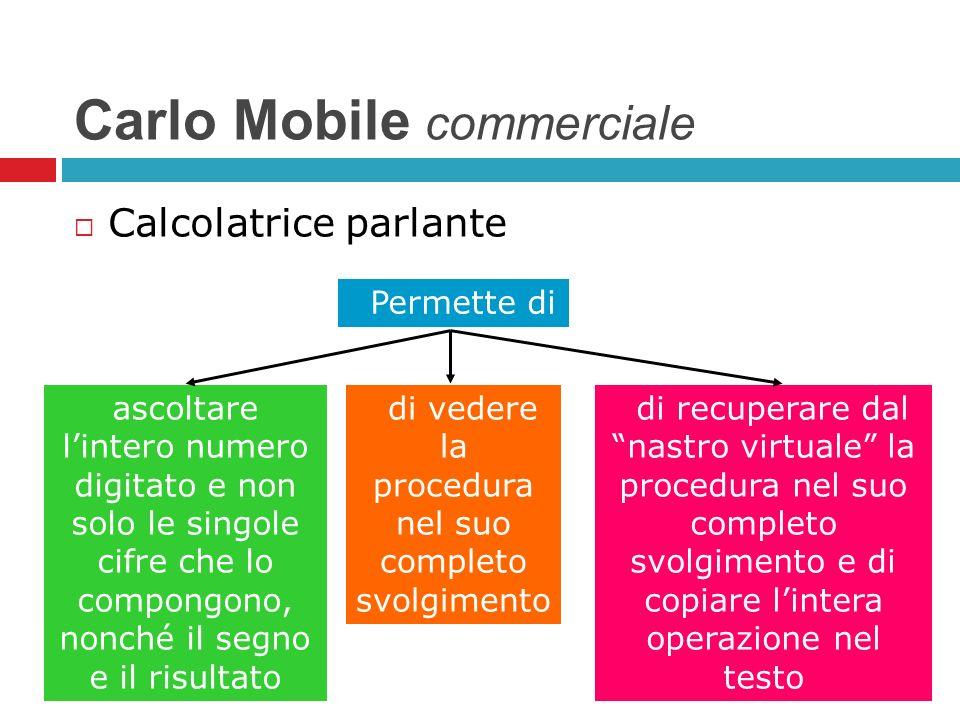 Carlo Mobile commerciale Calcolatrice parlante ascoltare lintero numero digitato e non solo le singole cifre che lo compongono, nonché il segno e il r