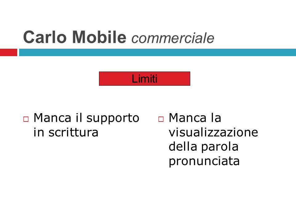 Carlo Mobile commerciale Manca il supporto in scrittura Manca la visualizzazione della parola pronunciata Limiti