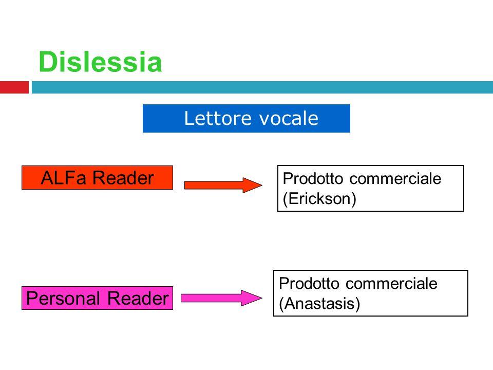Dislessia ALFa Reader Personal Reader Lettore vocale Prodotto commerciale (Erickson) Prodotto commerciale (Anastasis)