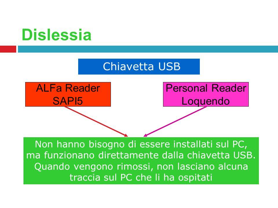 Dislessia Chiavetta USB ALFa Reader SAPI5 Personal Reader Loquendo Non hanno bisogno di essere installati sul PC, ma funzionano direttamente dalla chi