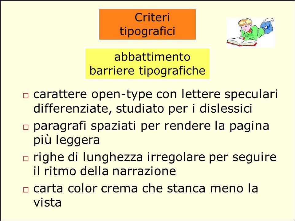 Criteri tipografici abbattimento barriere tipografiche carattere open-type con lettere speculari differenziate, studiato per i dislessici paragrafi sp