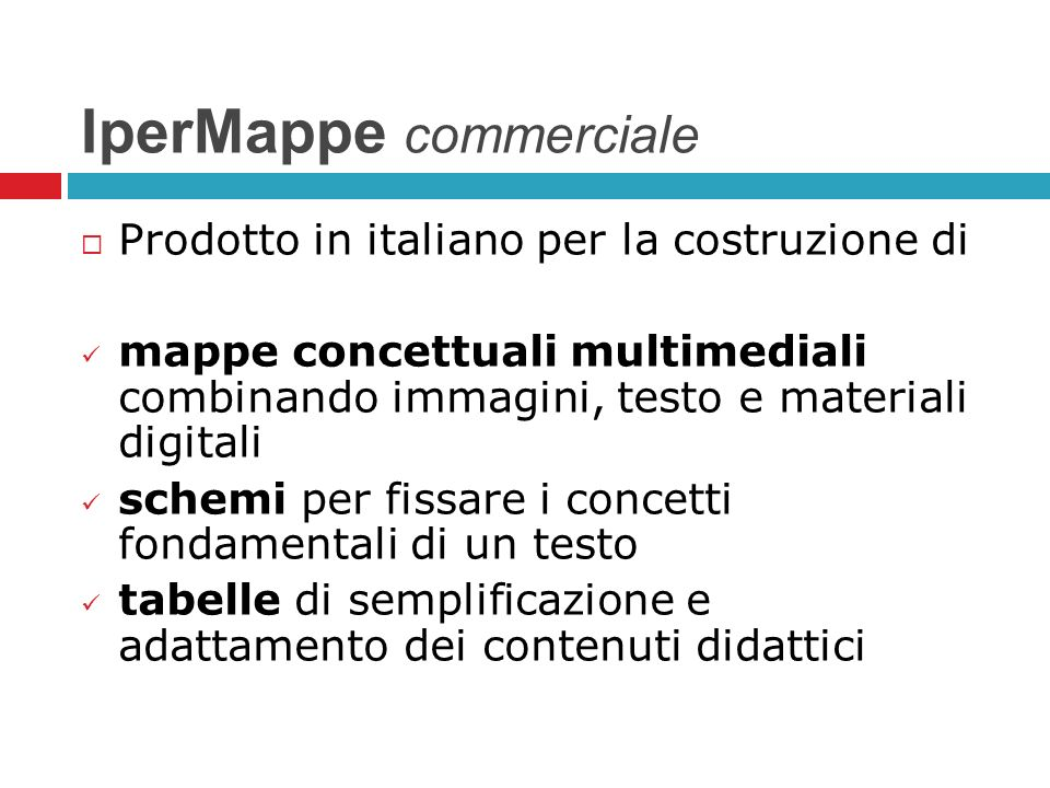 IperMappe commerciale Prodotto in italiano per la costruzione di mappe concettuali multimediali combinando immagini, testo e materiali digitali schemi