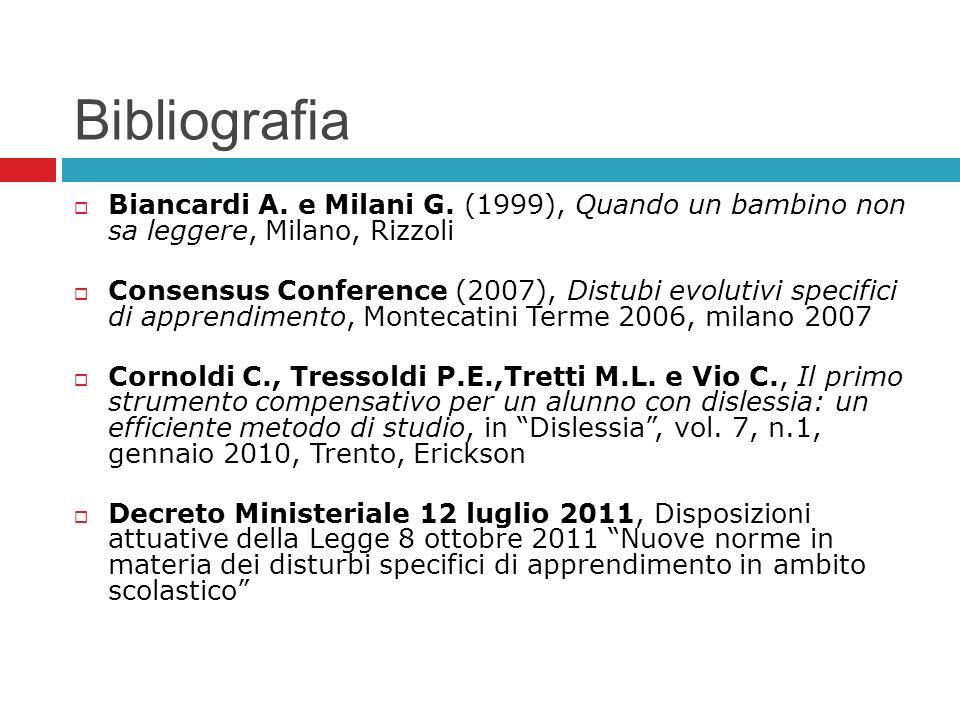 Bibliografia Biancardi A. e Milani G. (1999), Quando un bambino non sa leggere, Milano, Rizzoli Consensus Conference (2007), Distubi evolutivi specifi