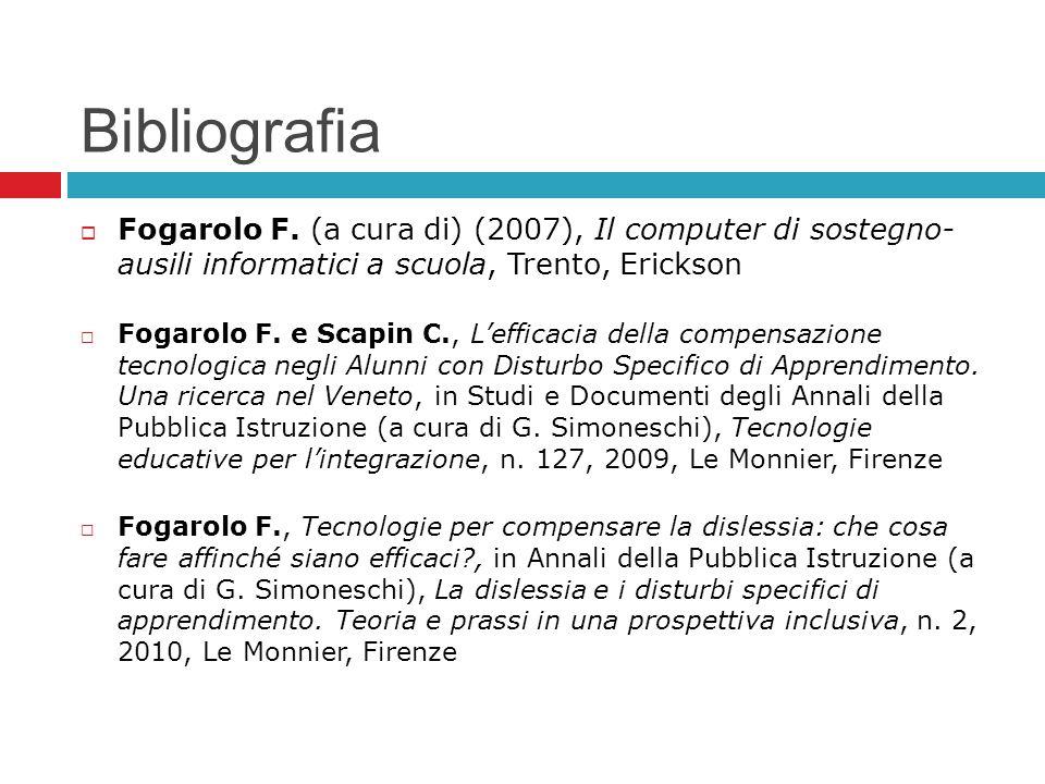 Bibliografia Fogarolo F. (a cura di) (2007), Il computer di sostegno- ausili informatici a scuola, Trento, Erickson Fogarolo F. e Scapin C., Lefficaci