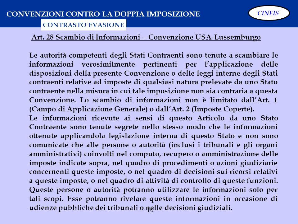10 CONVENZIONI CONTRO LA DOPPIA IMPOSIZIONE CONTRASTO EVASIONE Art. 28 Scambio di Informazioni – Convenzione USA-Lussemburgo Le autorità competenti de