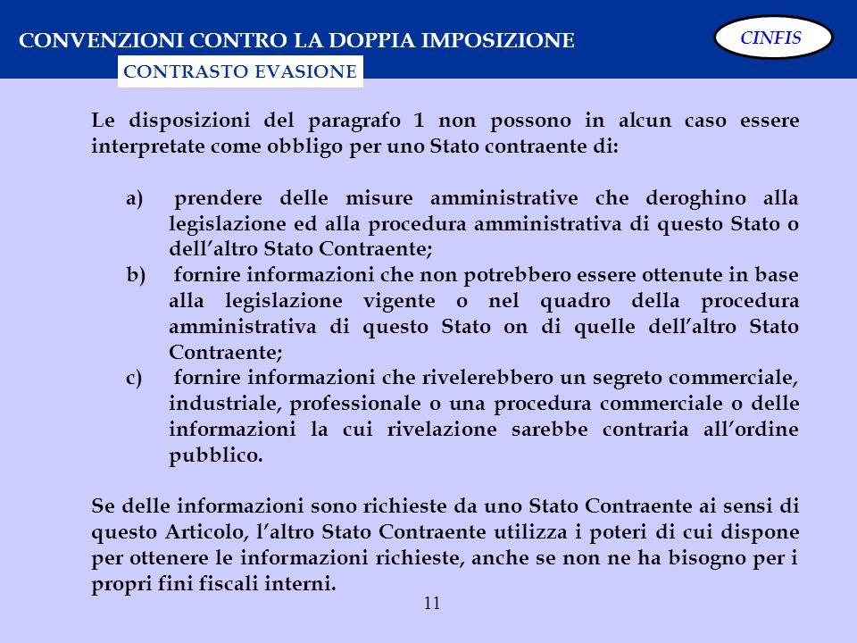 11 CONVENZIONI CONTRO LA DOPPIA IMPOSIZIONE CONTRASTO EVASIONE Le disposizioni del paragrafo 1 non possono in alcun caso essere interpretate come obbl