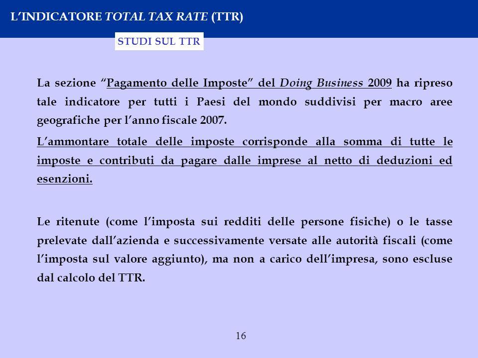 16 LINDICATORE TOTAL TAX RATE (TTR) La sezione Pagamento delle Imposte del Doing Business 2009 ha ripreso tale indicatore per tutti i Paesi del mondo