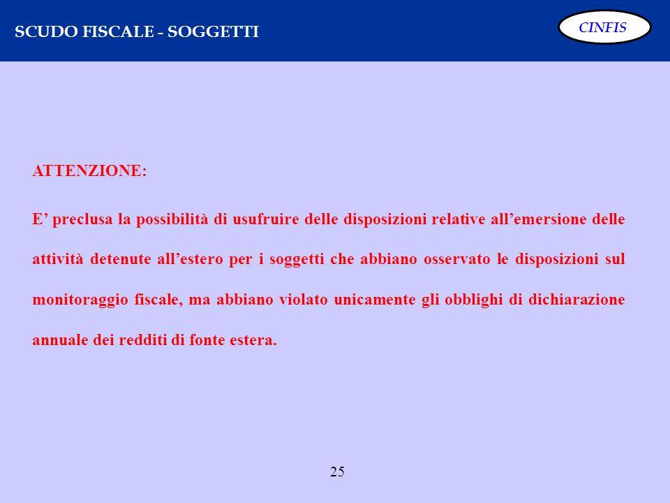 25 SCUDO FISCALE - SOGGETTI CINFIS ATTENZIONE: E preclusa la possibilità di usufruire delle disposizioni relative allemersione delle attività detenute