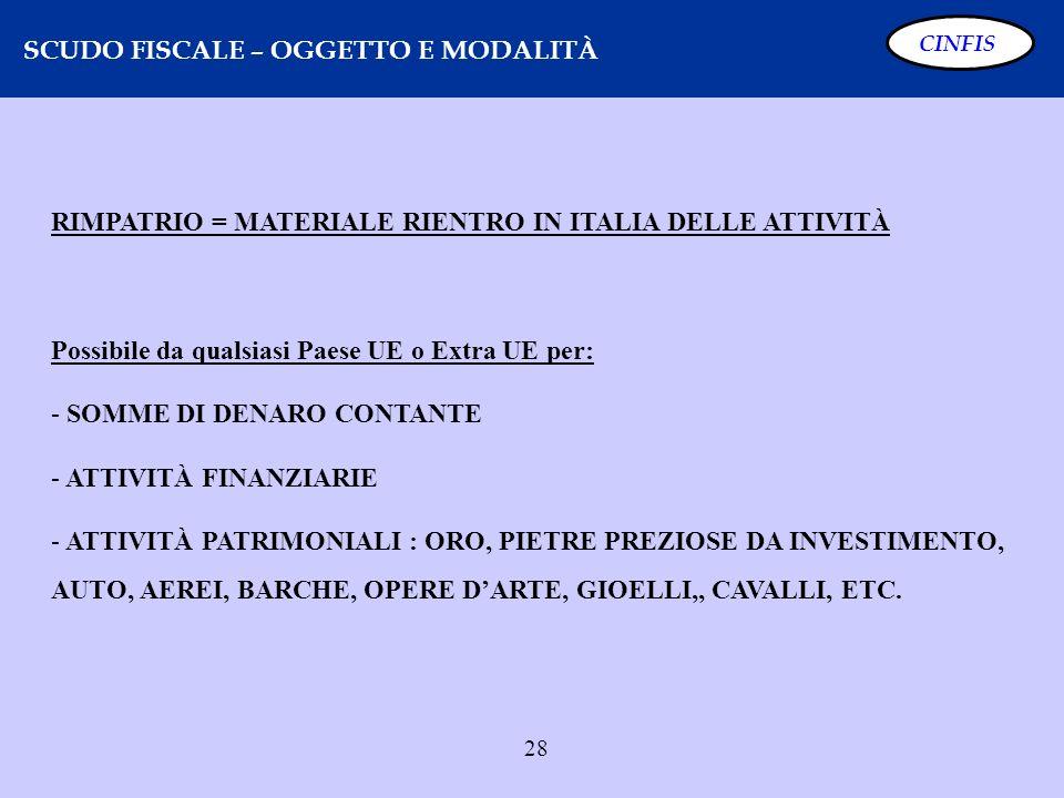 28 SCUDO FISCALE – OGGETTO E MODALITÀ CINFIS RIMPATRIO = MATERIALE RIENTRO IN ITALIA DELLE ATTIVITÀ Possibile da qualsiasi Paese UE o Extra UE per: -