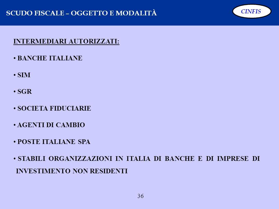 36 SCUDO FISCALE – OGGETTO E MODALITÀ CINFIS INTERMEDIARI AUTORIZZATI: BANCHE ITALIANE SIM SGR SOCIETA FIDUCIARIE AGENTI DI CAMBIO POSTE ITALIANE SPA