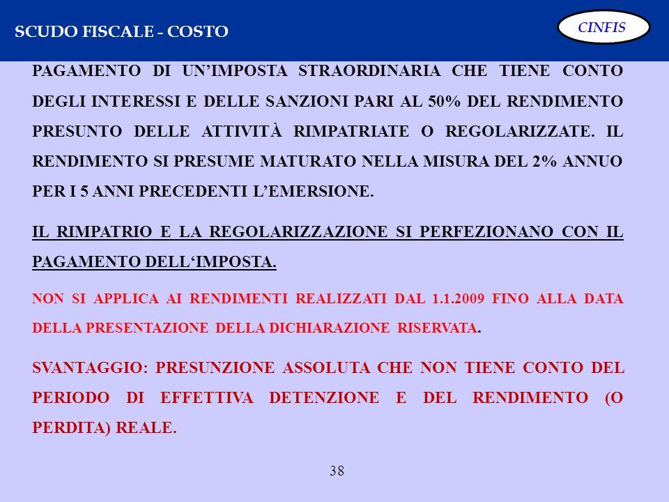 38 SCUDO FISCALE - COSTO CINFIS PAGAMENTO DI UNIMPOSTA STRAORDINARIA CHE TIENE CONTO DEGLI INTERESSI E DELLE SANZIONI PARI AL 50% DEL RENDIMENTO PRESU