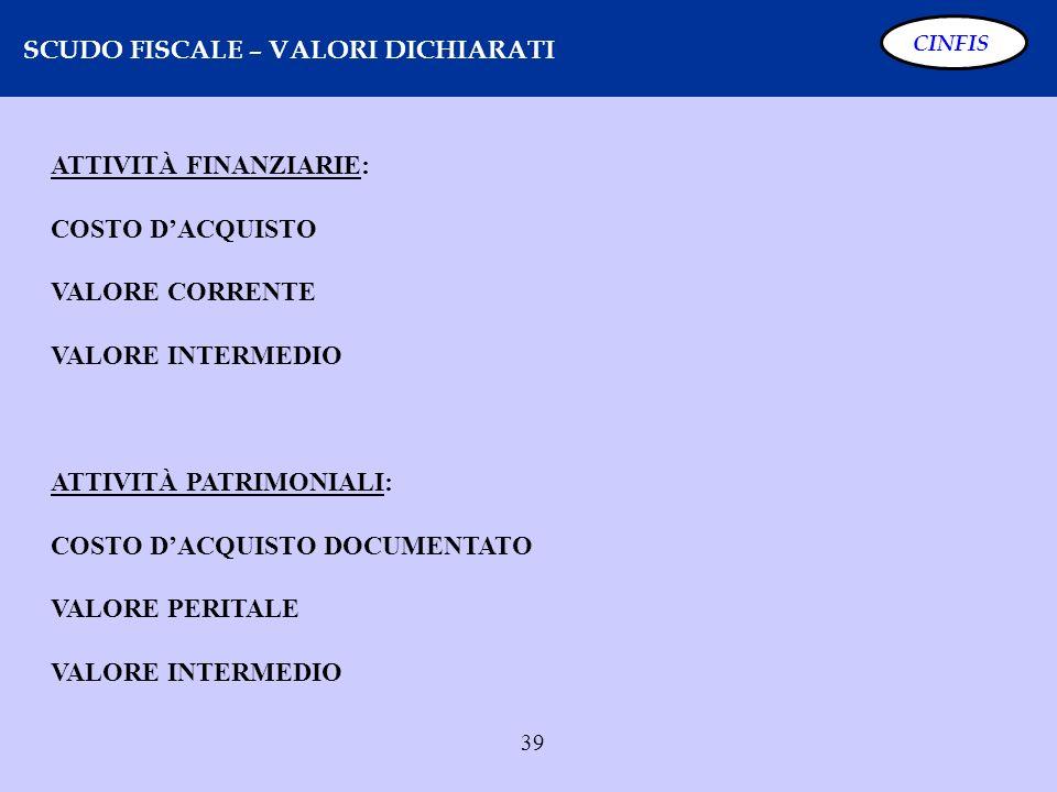39 SCUDO FISCALE – VALORI DICHIARATI CINFIS ATTIVITÀ FINANZIARIE: COSTO DACQUISTO VALORE CORRENTE VALORE INTERMEDIO ATTIVITÀ PATRIMONIALI: COSTO DACQU