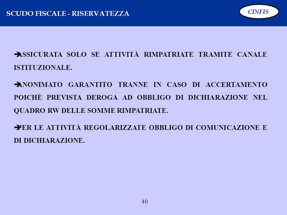 40 SCUDO FISCALE - RISERVATEZZA CINFIS ASSICURATA SOLO SE ATTIVITÀ RIMPATRIATE TRAMITE CANALE ISTITUZIONALE. ANONIMATO GARANTITO TRANNE IN CASO DI ACC