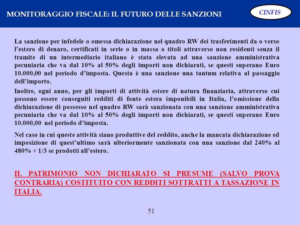 51 MONITORAGGIO FISCALE: IL FUTURO DELLE SANZIONI CINFIS La sanzione per infedele o omessa dichiarazione nel quadro RW dei trasferimenti da o verso le