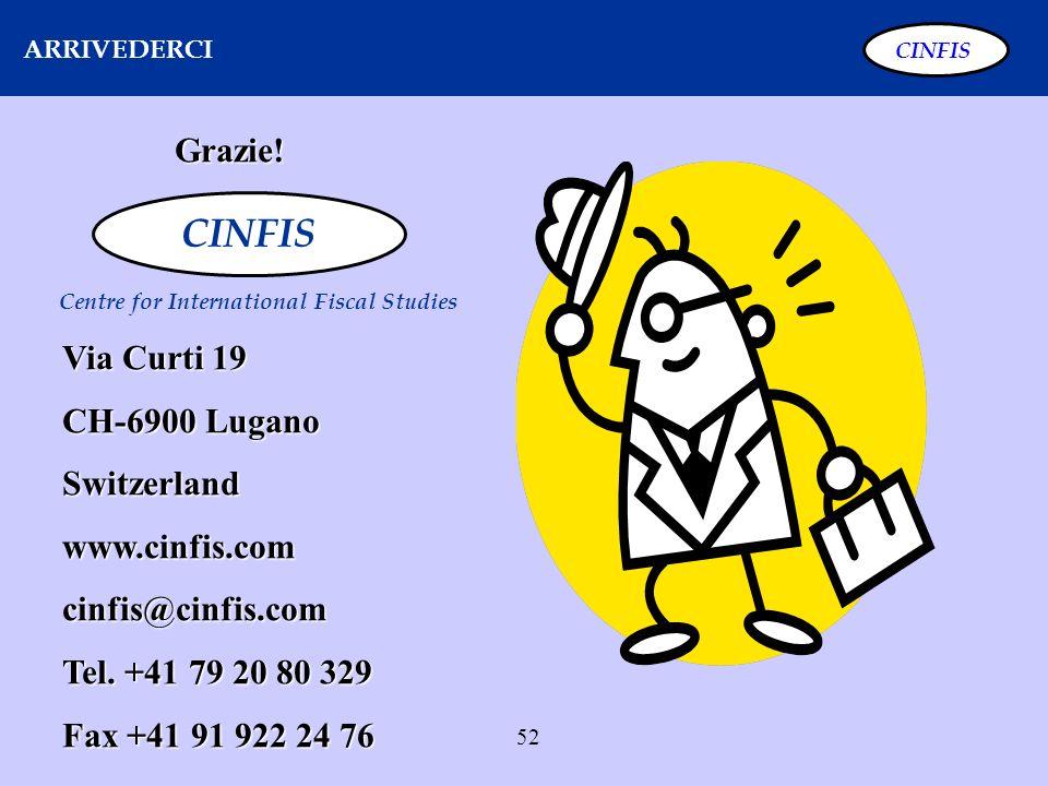 52 ARRIVEDERCI CINFIS Grazie! Centre for International Fiscal Studies Via Curti 19 CH-6900 Lugano Switzerlandwww.cinfis.comcinfis@cinfis.com Tel. +41