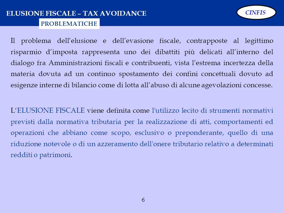 6 ELUSIONE FISCALE – TAX AVOIDANCE Il problema dellelusione e dellevasione fiscale, contrapposte al legittimo risparmio dimposta rappresenta uno dei d
