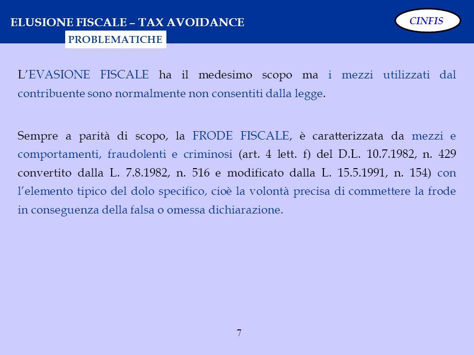 7 ELUSIONE FISCALE – TAX AVOIDANCE LEVASIONE FISCALE ha il medesimo scopo ma i mezzi utilizzati dal contribuente sono normalmente non consentiti dalla