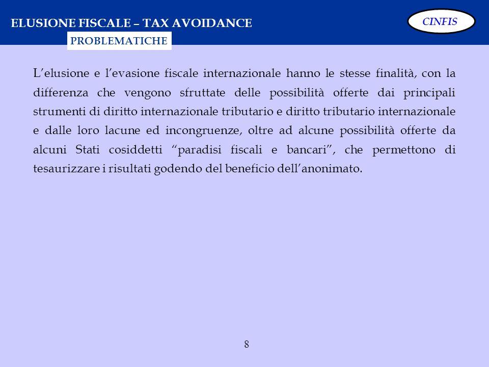 8 ELUSIONE FISCALE – TAX AVOIDANCE Lelusione e levasione fiscale internazionale hanno le stesse finalità, con la differenza che vengono sfruttate dell