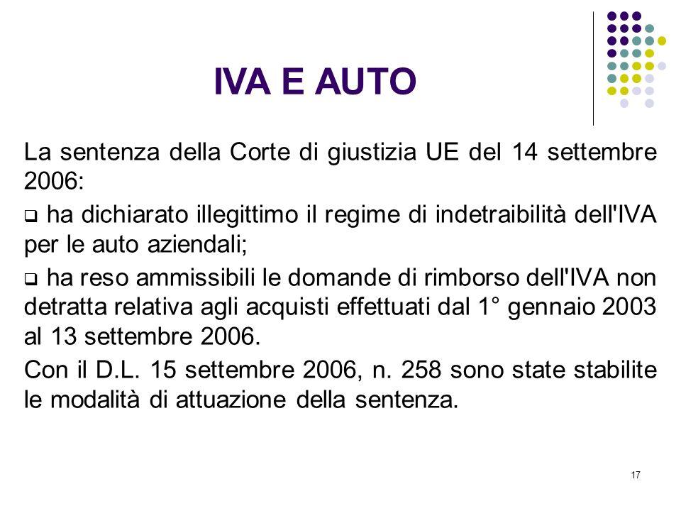 17 La sentenza della Corte di giustizia UE del 14 settembre 2006: ha dichiarato illegittimo il regime di indetraibilità dell'IVA per le auto aziendali