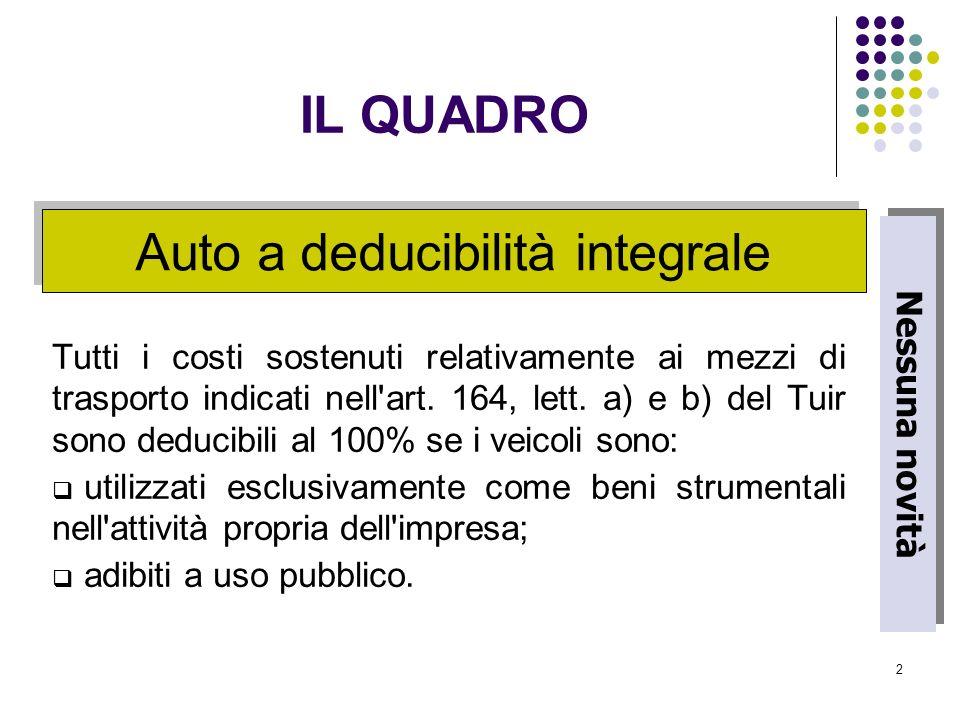 2 Tutti i costi sostenuti relativamente ai mezzi di trasporto indicati nell'art. 164, lett. a) e b) del Tuir sono deducibili al 100% se i veicoli sono