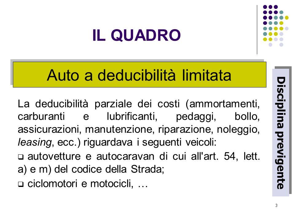 3 Auto a deducibilità limitata La deducibilità parziale dei costi (ammortamenti, carburanti e lubrificanti, pedaggi, bollo, assicurazioni, manutenzion