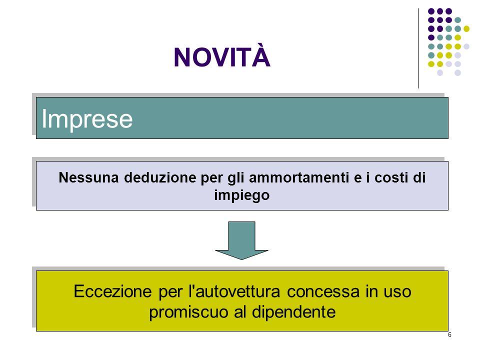 6 Imprese Nessuna deduzione per gli ammortamenti e i costi di impiego Eccezione per l'autovettura concessa in uso promiscuo al dipendente NOVITÀ