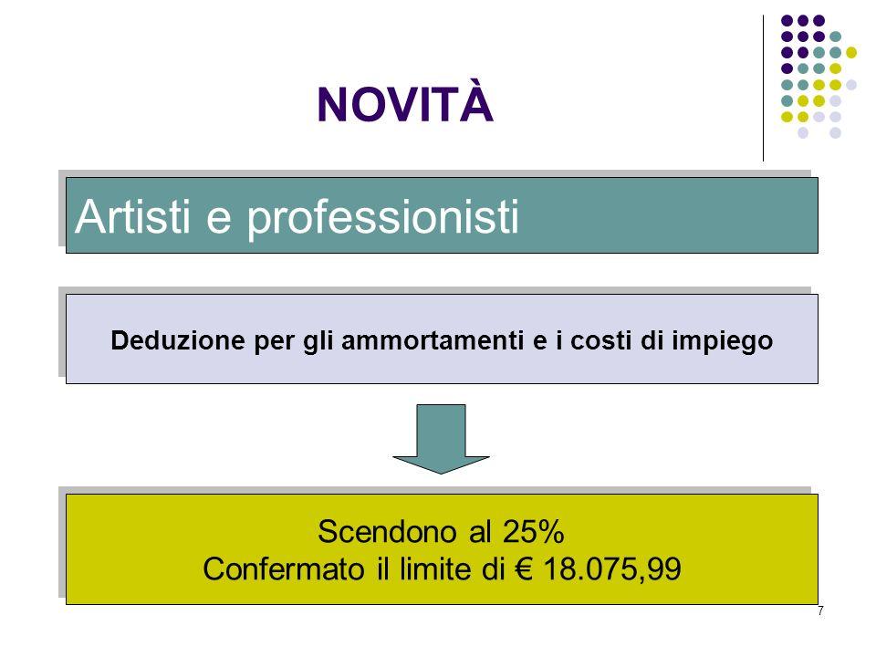 7 Artisti e professionisti Deduzione per gli ammortamenti e i costi di impiego Scendono al 25% Confermato il limite di 18.075,99 NOVITÀ
