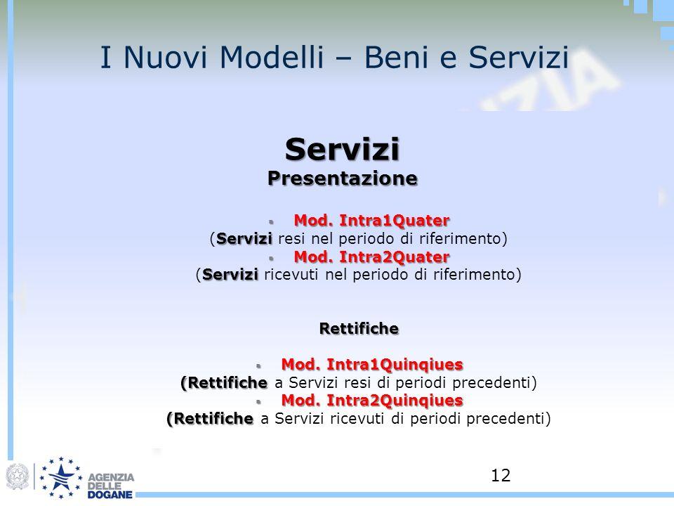 12 I Nuovi Modelli – Beni e Servizi ServiziPresentazione Mod. Intra1Quater Mod. Intra1Quater Servizi (Servizi resi nel periodo di riferimento) Mod. In