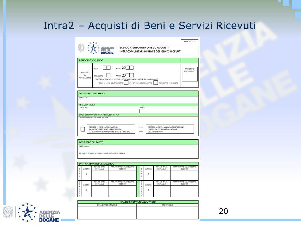 20 Intra2 – Acquisti di Beni e Servizi Ricevuti