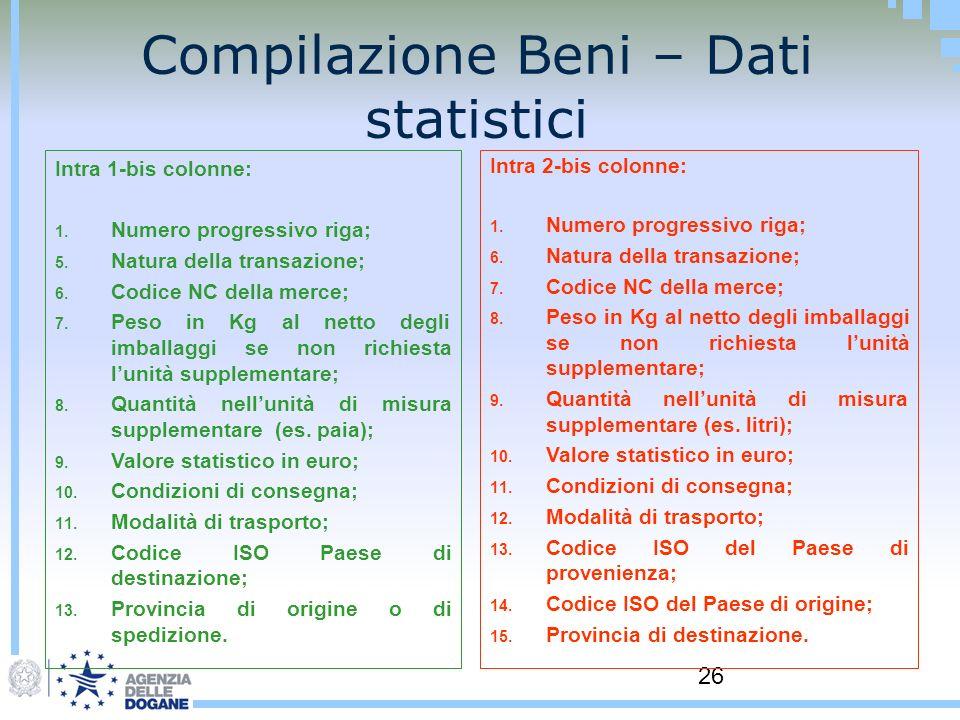 26 Compilazione Beni – Dati statistici Intra 1-bis colonne: 1. Numero progressivo riga; 5. Natura della transazione; 6. Codice NC della merce; 7. Peso