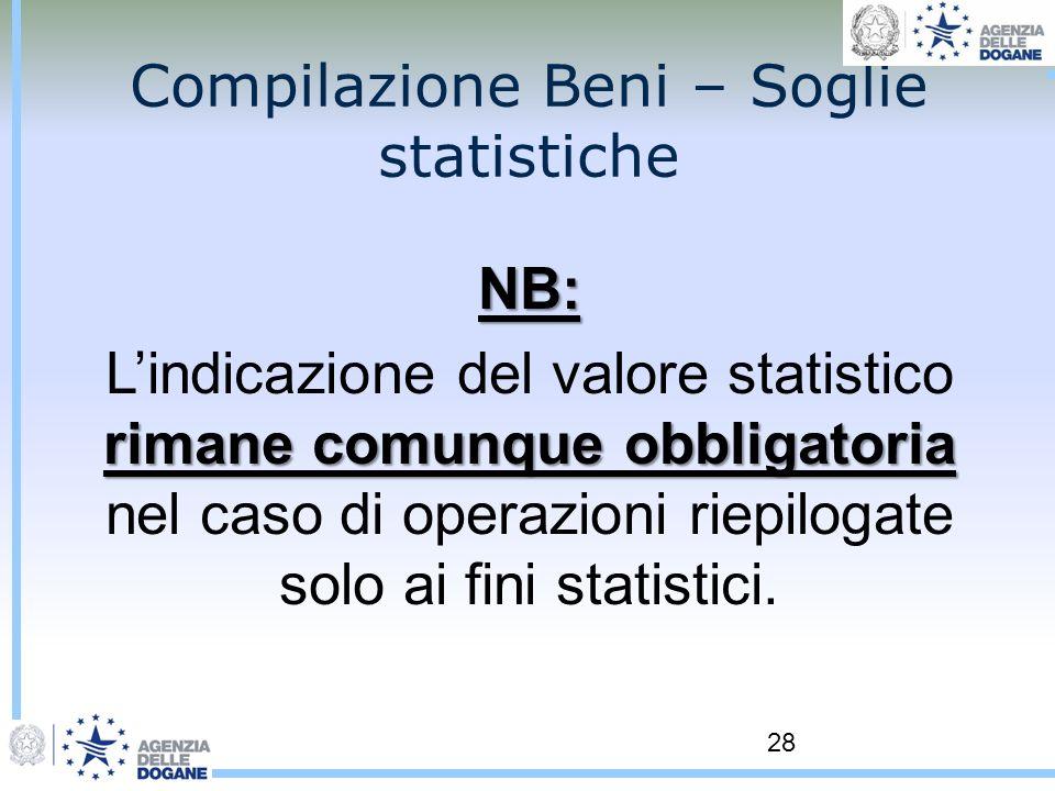 28 Compilazione Beni – Soglie statistiche NB: rimane comunque obbligatoria Lindicazione del valore statistico rimane comunque obbligatoria nel caso di