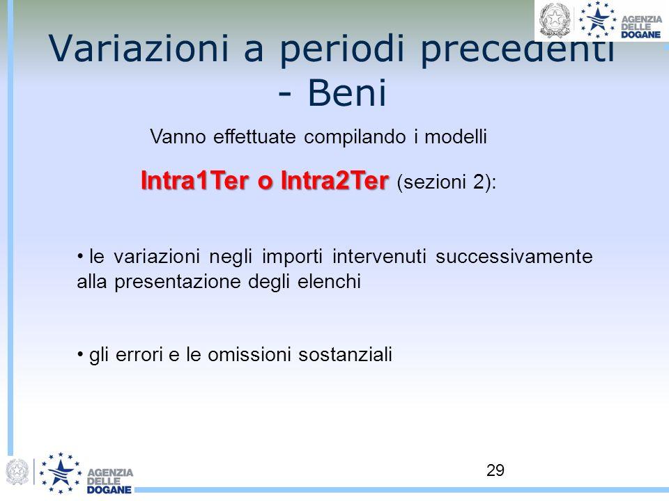 29 Variazioni a periodi precedenti - Beni Vanno effettuate compilando i modelli Intra1Ter o Intra2Ter Intra1Ter o Intra2Ter (sezioni 2): le variazioni