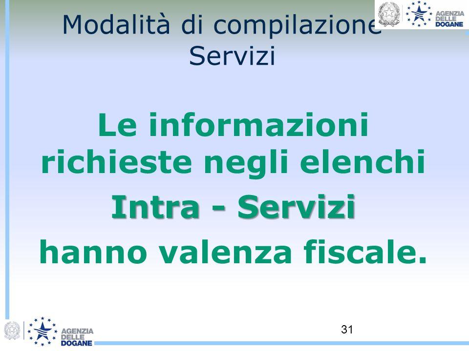 31 Modalità di compilazione - Servizi Le informazioni richieste negli elenchi Intra - Servizi hanno valenza fiscale.