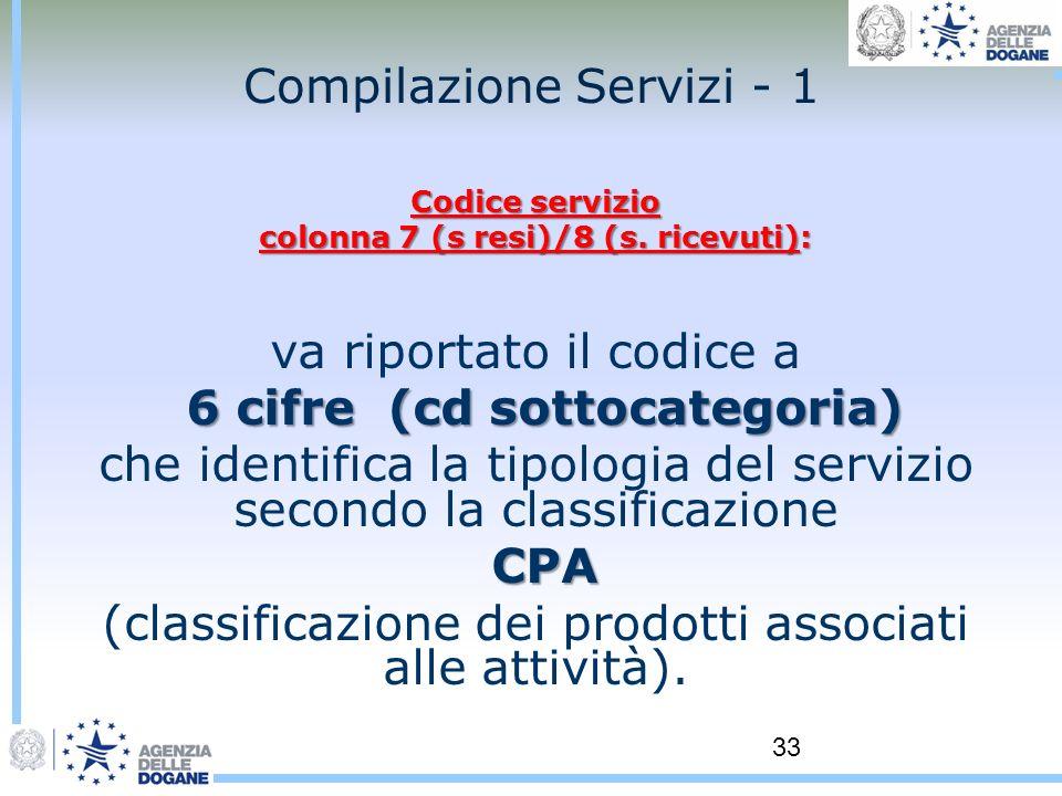 33 Compilazione Servizi - 1 Codice servizio colonna 7 (s resi)/8 (s. ricevuti): va riportato il codice a 6 cifre (cd sottocategoria) 6 cifre (cd sotto