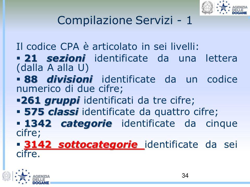 34 Compilazione Servizi - 1 Il codice CPA è articolato in sei livelli: 21 sezioni 21 sezioni identificate da una lettera (dalla A alla U) 88 divisioni