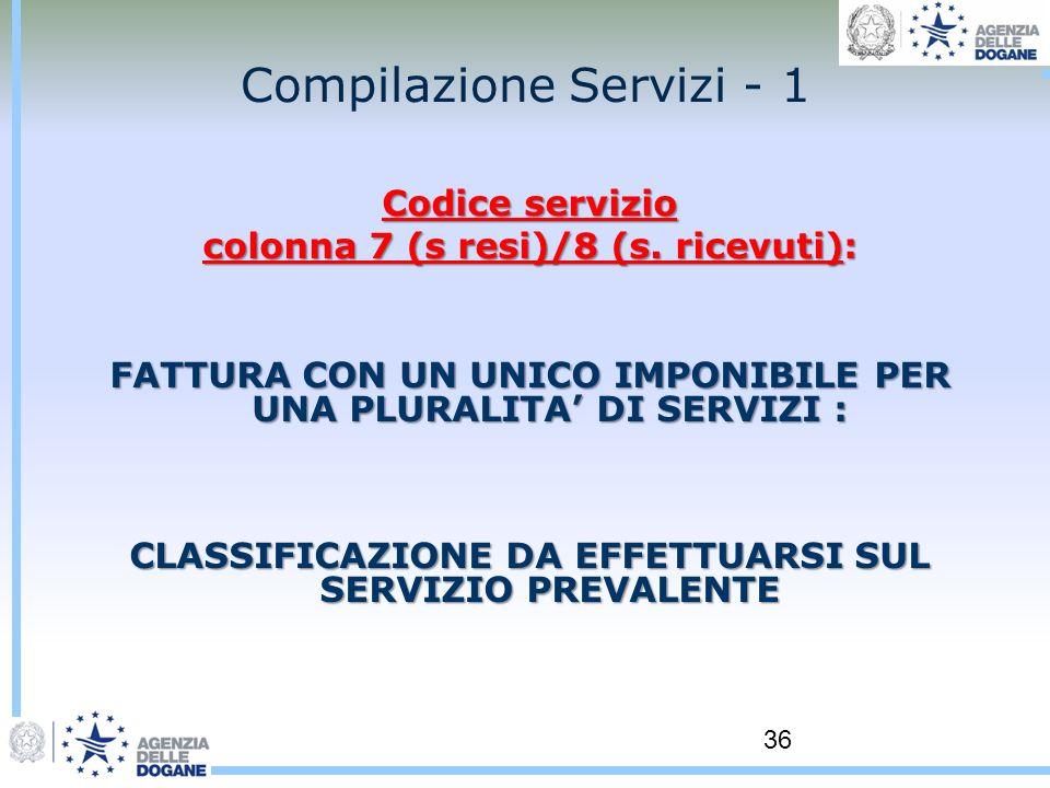 36 Compilazione Servizi - 1 Codice servizio colonna 7 (s resi)/8 (s. ricevuti): FATTURA CON UN UNICO IMPONIBILE PER UNA PLURALITA DI SERVIZI : CLASSIF