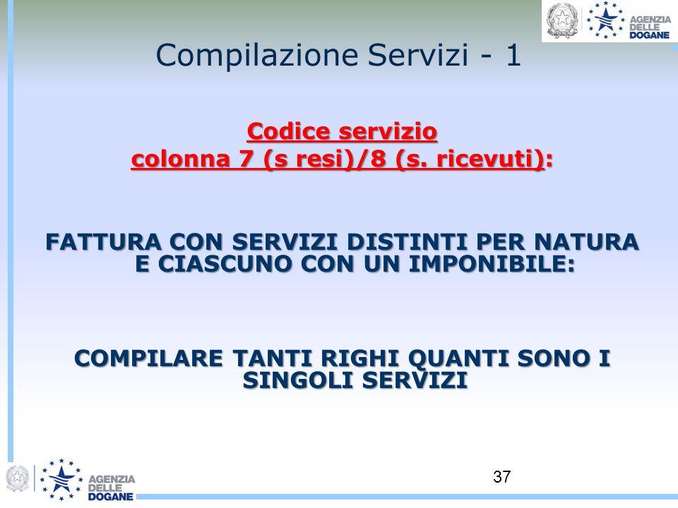 37 Compilazione Servizi - 1 Codice servizio colonna 7 (s resi)/8 (s. ricevuti): FATTURA CON SERVIZI DISTINTI PER NATURA E CIASCUNO CON UN IMPONIBILE: