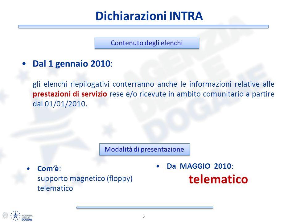Dichiarazioni INTRA 6 Dal 1 gennaio 2010: TELEMATICA TELEMATICA : entro il 25 del mese successivo al mese/trimestre di riferimento (es.