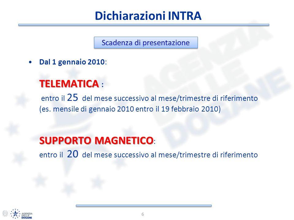 Dichiarazioni INTRA 6 Dal 1 gennaio 2010: TELEMATICA TELEMATICA : entro il 25 del mese successivo al mese/trimestre di riferimento (es. mensile di gen