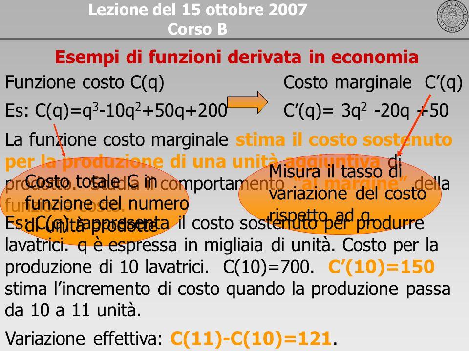 La funzione costo marginale stima il costo sostenuto per la produzione di una unità aggiuntiva di prodotto. Studia il comportamento al margine della f